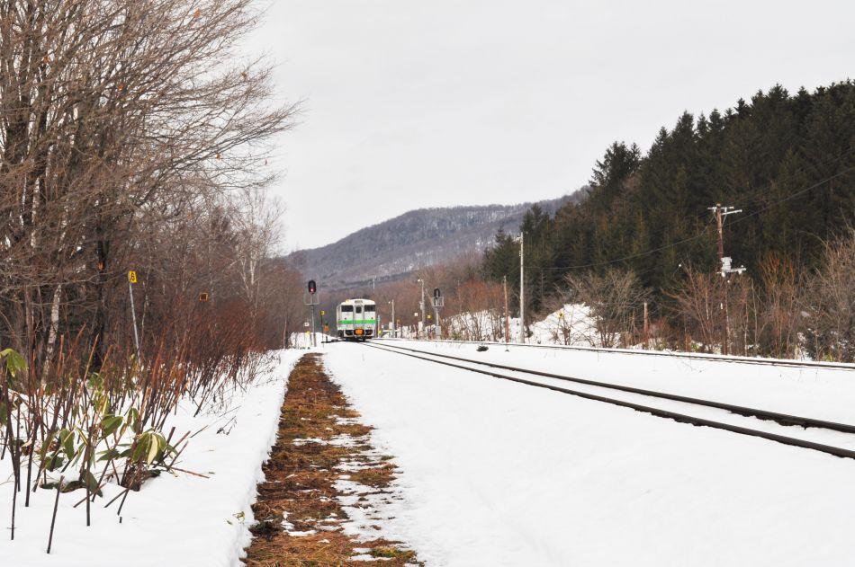 「塩狩峠50年」名寄方面からのJR列車が。『塩狩峠』50年の第1回の打ち合わせの、偶然を感じたひとコマ。
